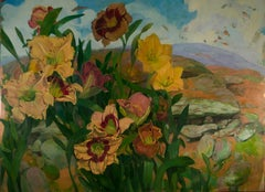 """Day Lilies in Landscape"" original oil on copper by Benjamin Shamback"