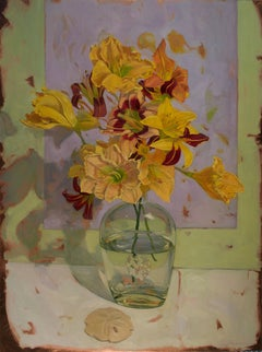 """""""Day Lily Bouquet on Violet"""" original flora still life oil on copper"""