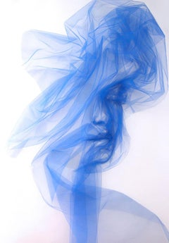 FLOW from Mantra Series by Benjamin Shine - Blue Tulle on canvas, unique work