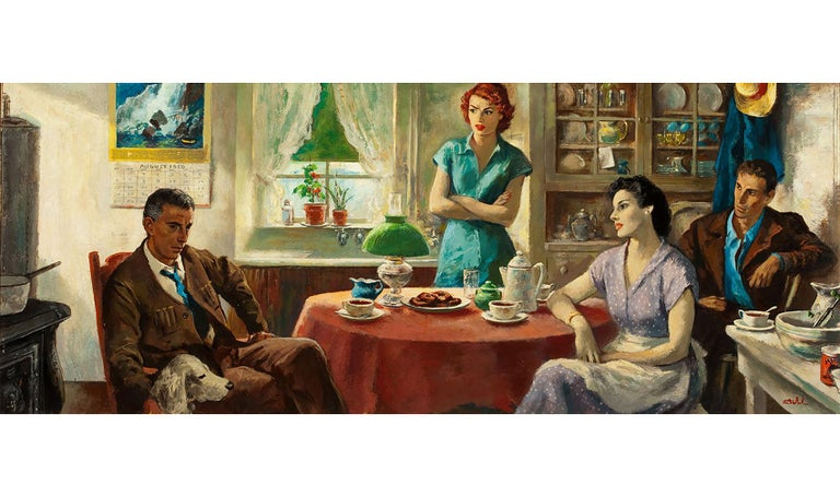 Benjamin Stahl Portrait Painting - Crowfoot for Luck, Saturday Evening Post illustration