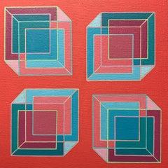 Contemporary geometric abstract Op Art painting w/ green, blue, purple, orange