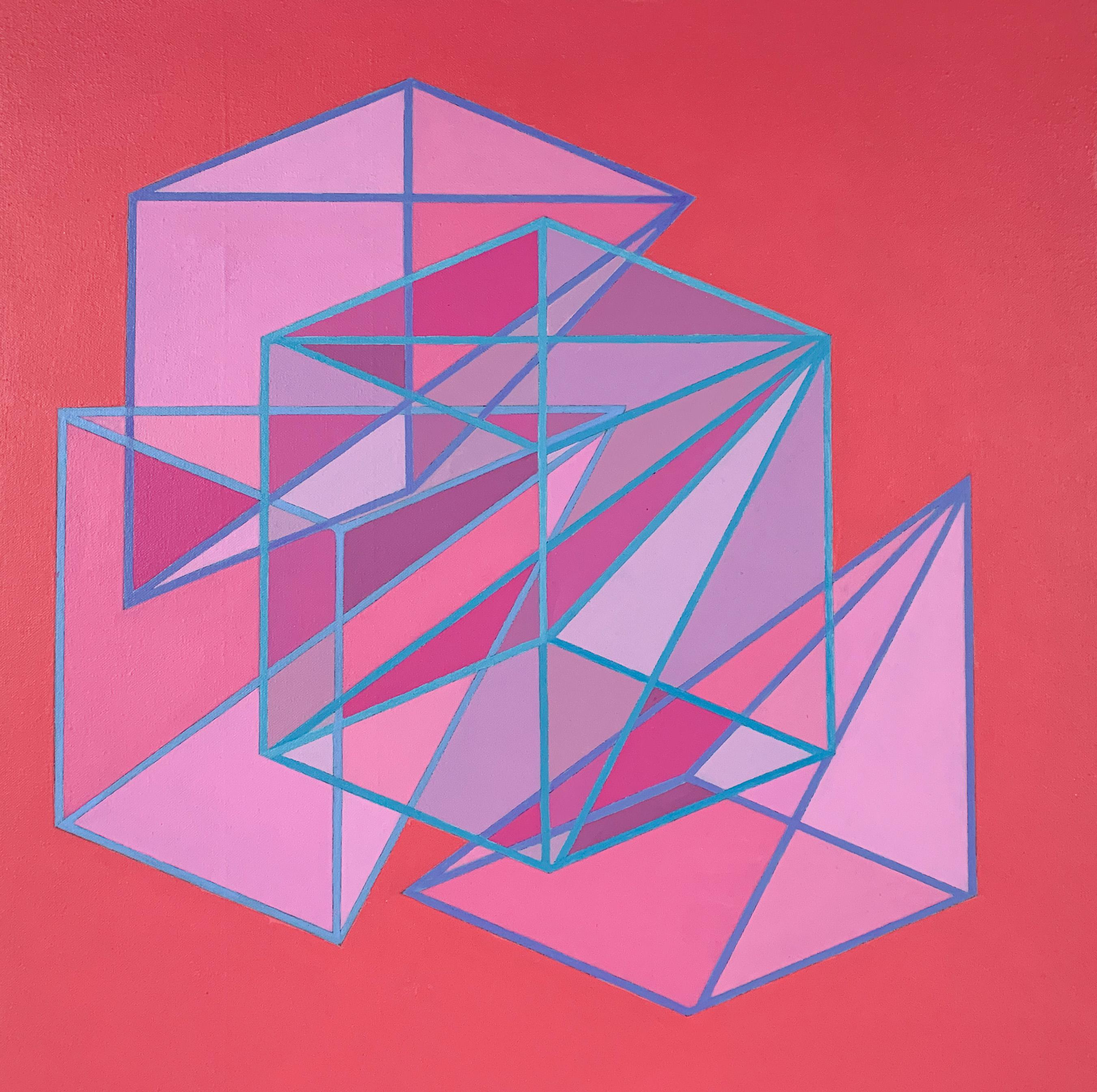 Contemporary geometric abstract painting w/ pink & purple cubes, pyramids on red