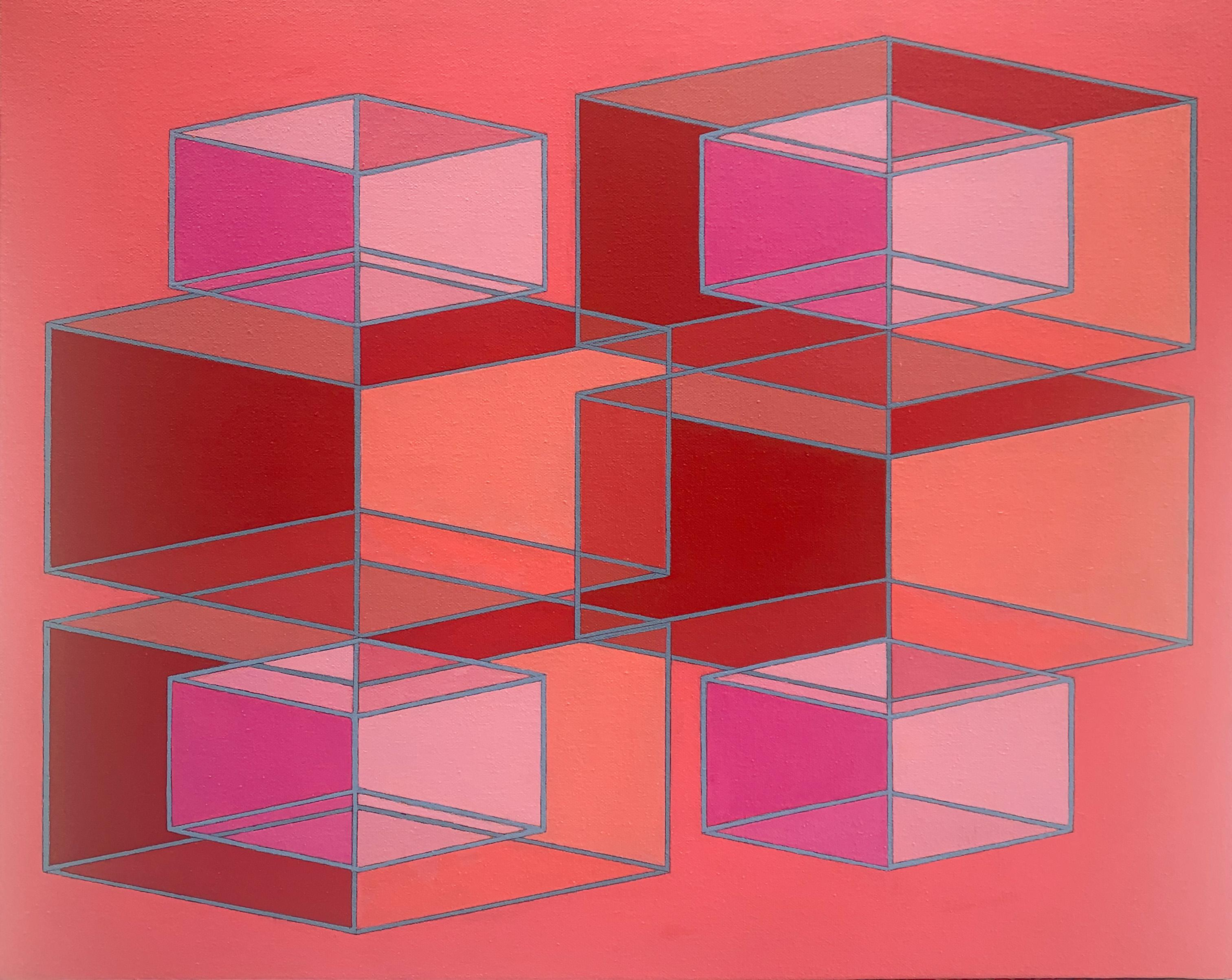 Contemporary geometric abstract Op Art painting w/ red & pink cubes on orange