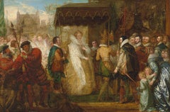 18th Century Oil Painting of Queen Elizabeth 1 of England in Procession.