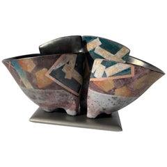 Bennett Bean Pair Bowls / Vases, Ceramic/Pottery on Base Master # 446, Marked