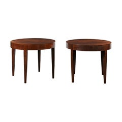 Bennett Round Side Table in Feathered Walnut