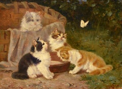 """Kittens and Butterfly,"" Benedikt (Benno) Kogl, Impressionist oil"