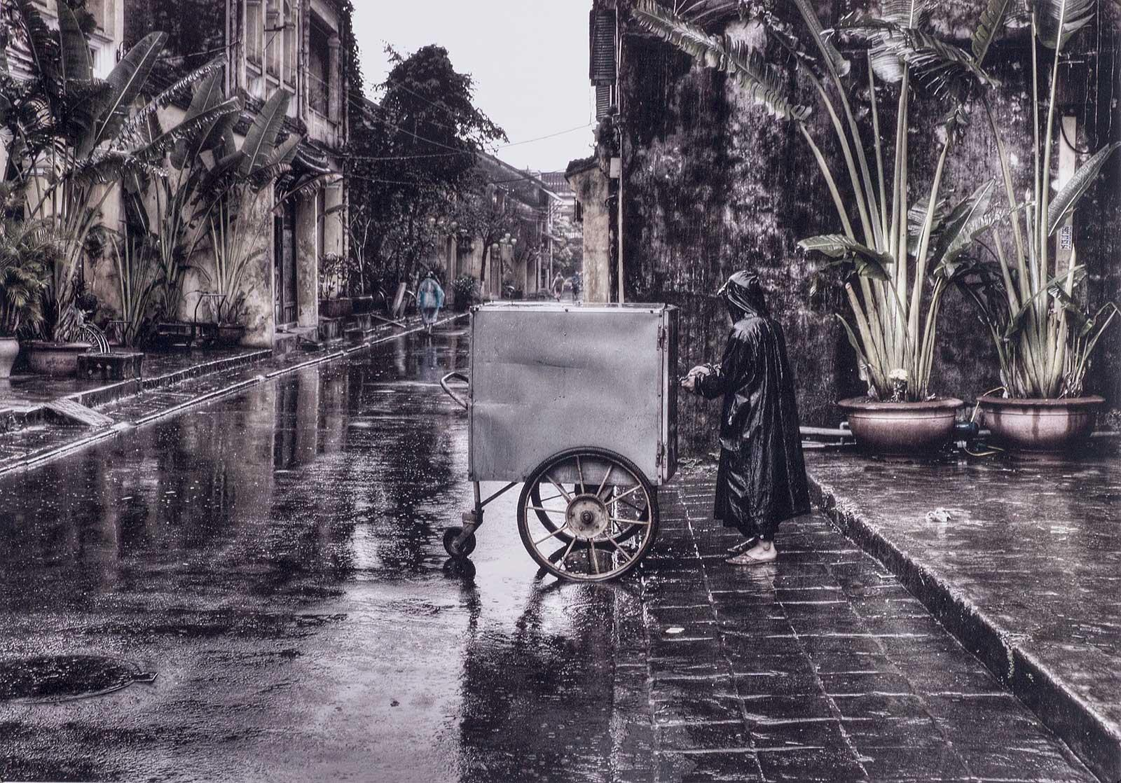 Early Morning (an atmospheric sense of a lone figure in Hoi An, Vietnam)