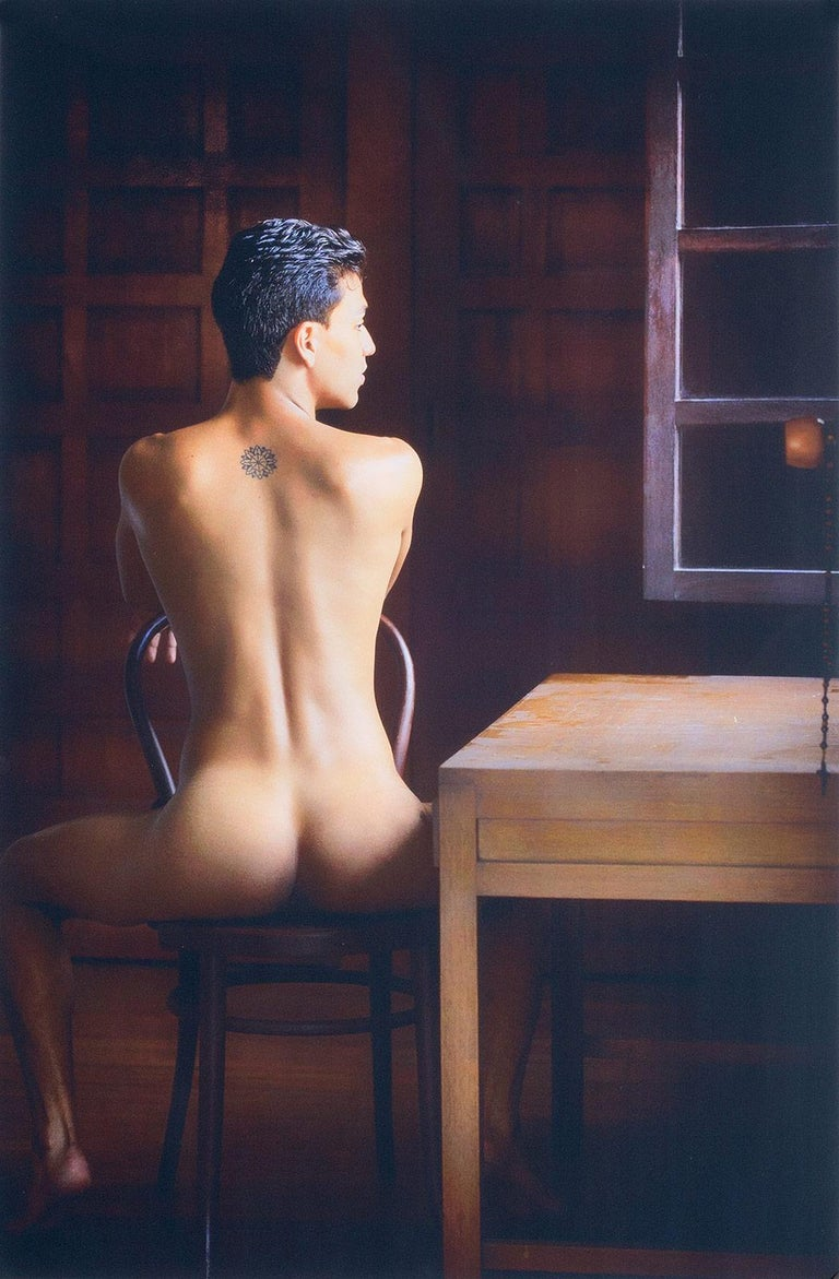 Benno Thoma Color Photograph - Looking Out (nude male Bel Ami model in Colombia seated in old colonial house)