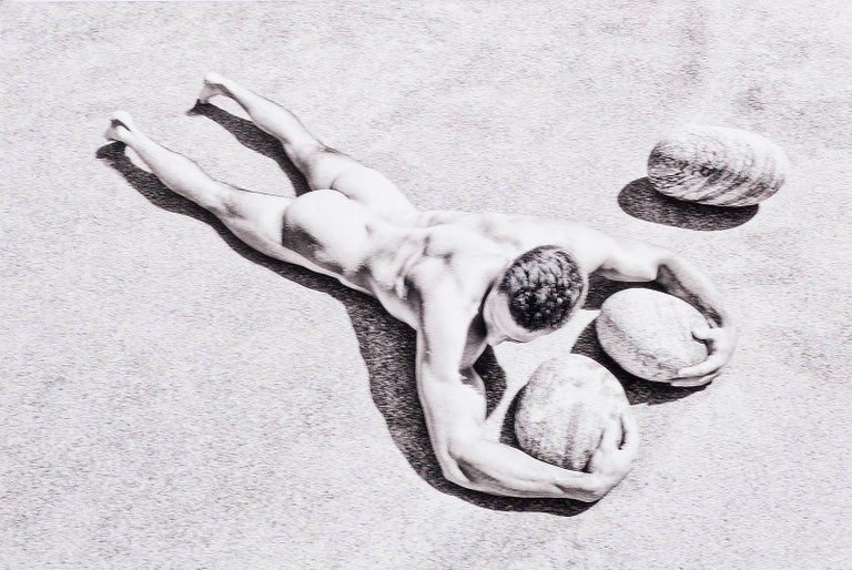 Benno Thoma Landscape Photograph - Rocks (nude model from Bel Ami lies prone with rocks in Greece)