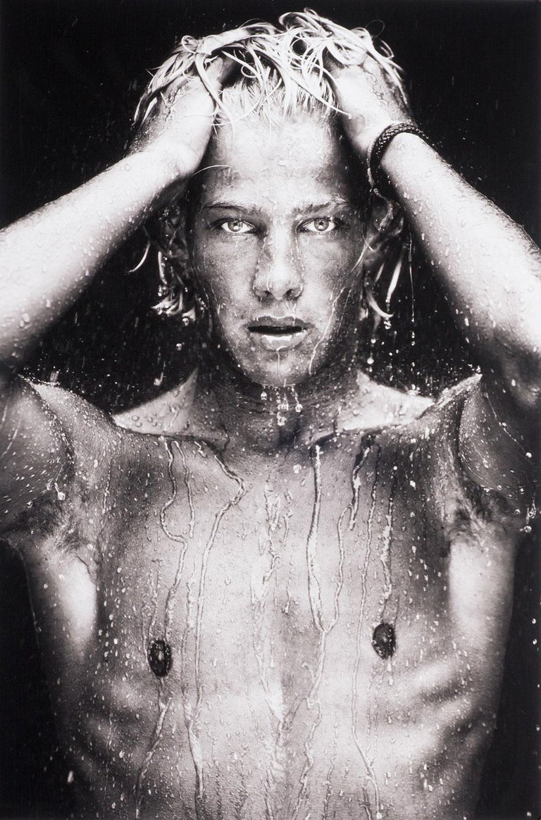Benno Thoma Black and White Photograph - WET, Portrait (young nude Dutch boy is dripping wet and looking directly out)
