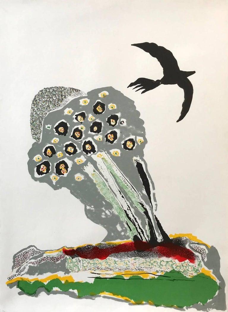 Benny Andrews Abstract Print - Black Bird
