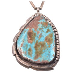 Benny Chapo Navajo Native American Sterling Silver Royston Turquoise Necklace