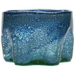Benny Motzfeldt Blue Bubble Inclusion Glass Bowl, circa 1930
