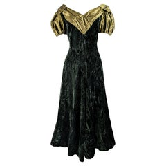 Benny Ong Vintage 1980s Crushed Velvet & Taffeta Evening Ball Gown