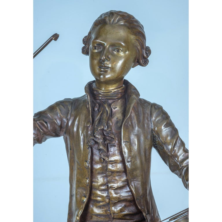 A Fine Patinated Bronze Statue of a Musician Holding a Violin by B.L. HERCULE For Sale 1