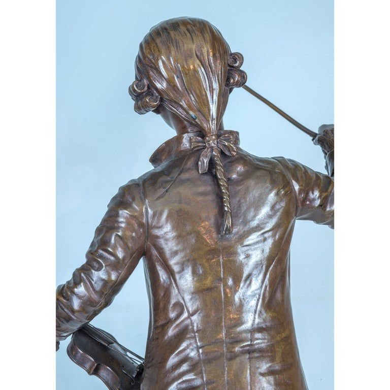A Fine Patinated Bronze Statue of a Musician Holding a Violin by B.L. HERCULE For Sale 2