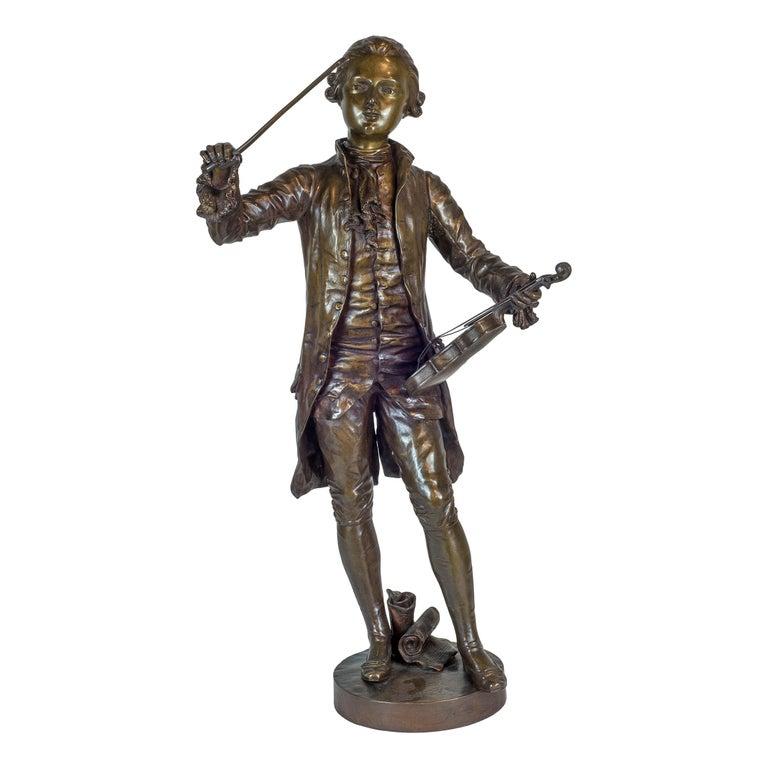 Benoit Lucien Hercule Figurative Sculpture - A Fine Patinated Bronze Statue of a Musician Holding a Violin by B.L. HERCULE