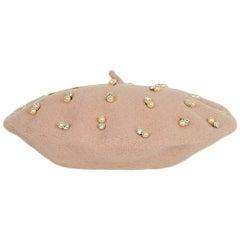 Benoit Missolin Blush Pink Beret Hat w/ Faux Pearl & Crystals NWT rt. $248