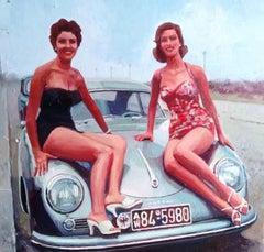 """"""" Jeunes femmes à la Porsche """", Painting, Oil on Canvas"""
