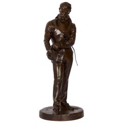 Benoit Rougelet Antique French Bronze Sculpture of a Fencer