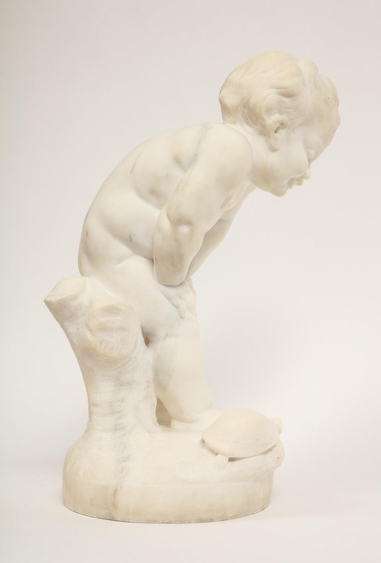 Benoit Rougelet, F. Barbedienne, a White Marble Sculpture of a Putti and Turtle 4