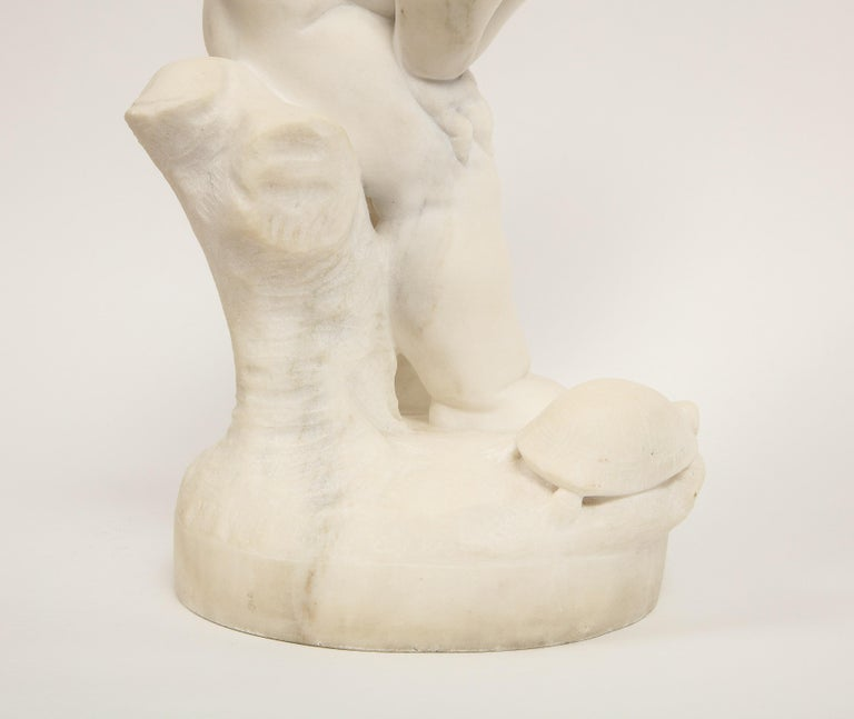 Benoit Rougelet, F. Barbedienne, a White Marble Sculpture of a Putti and Turtle 5