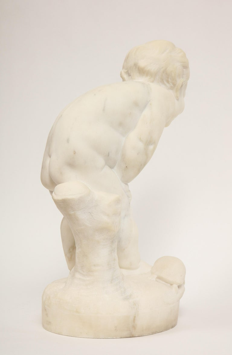 Benoit Rougelet, F. Barbedienne, a White Marble Sculpture of a Putti and Turtle 6