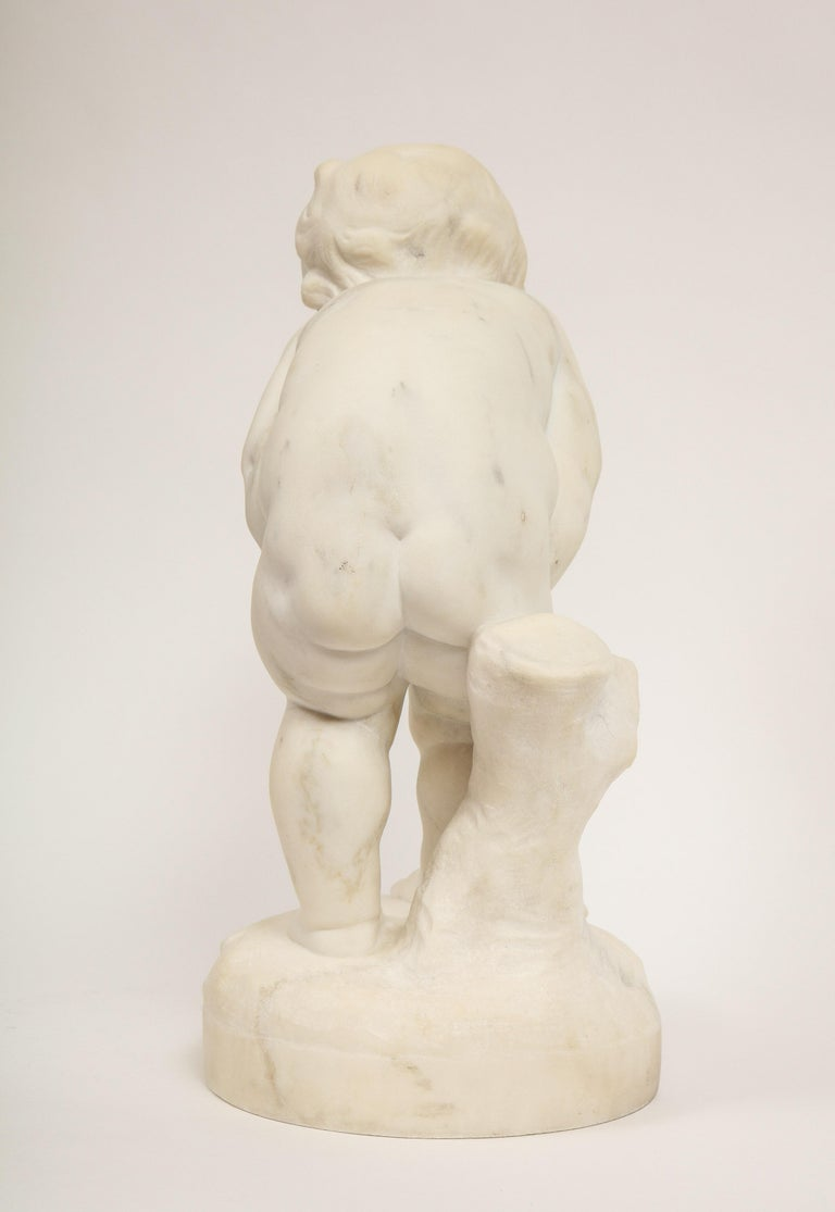 Benoit Rougelet, F. Barbedienne, a White Marble Sculpture of a Putti and Turtle 7
