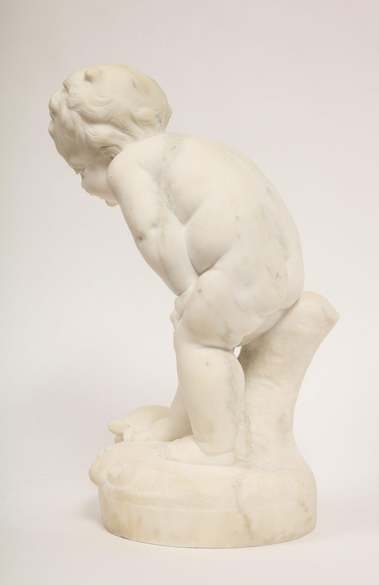 Benoit Rougelet, F. Barbedienne, a White Marble Sculpture of a Putti and Turtle 8