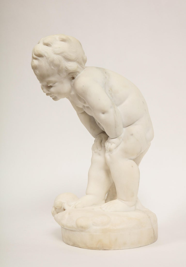 Benoit Rougelet, F. Barbedienne, a White Marble Sculpture of a Putti and Turtle 9