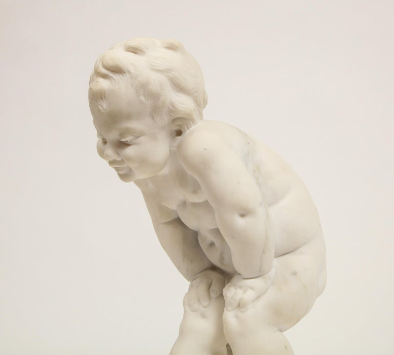 Benoit Rougelet, F. Barbedienne, a White Marble Sculpture of a Putti and Turtle 10