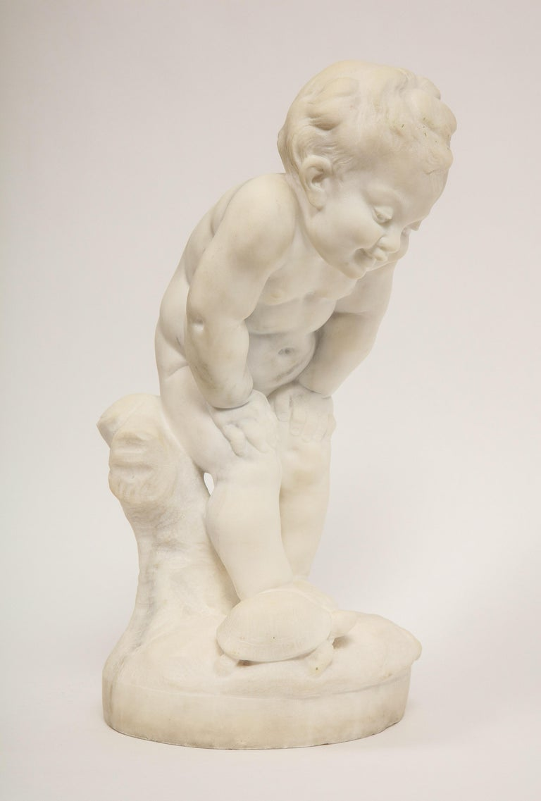Benoit Rougelet, F. Barbedienne, a charming French white marble sculpture of a Putti and Turtle, circa 1870.