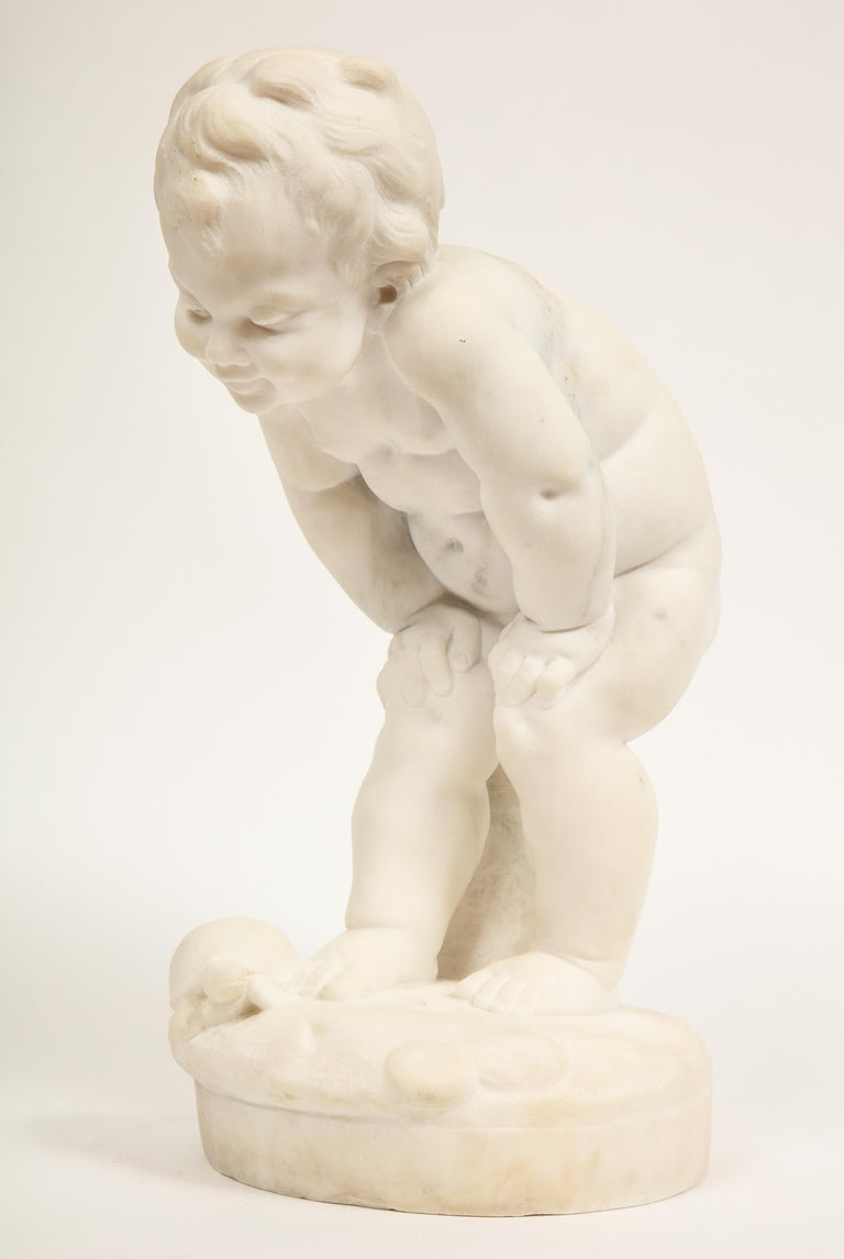 Napoleon III Benoit Rougelet, F. Barbedienne, a White Marble Sculpture of a Putti and Turtle