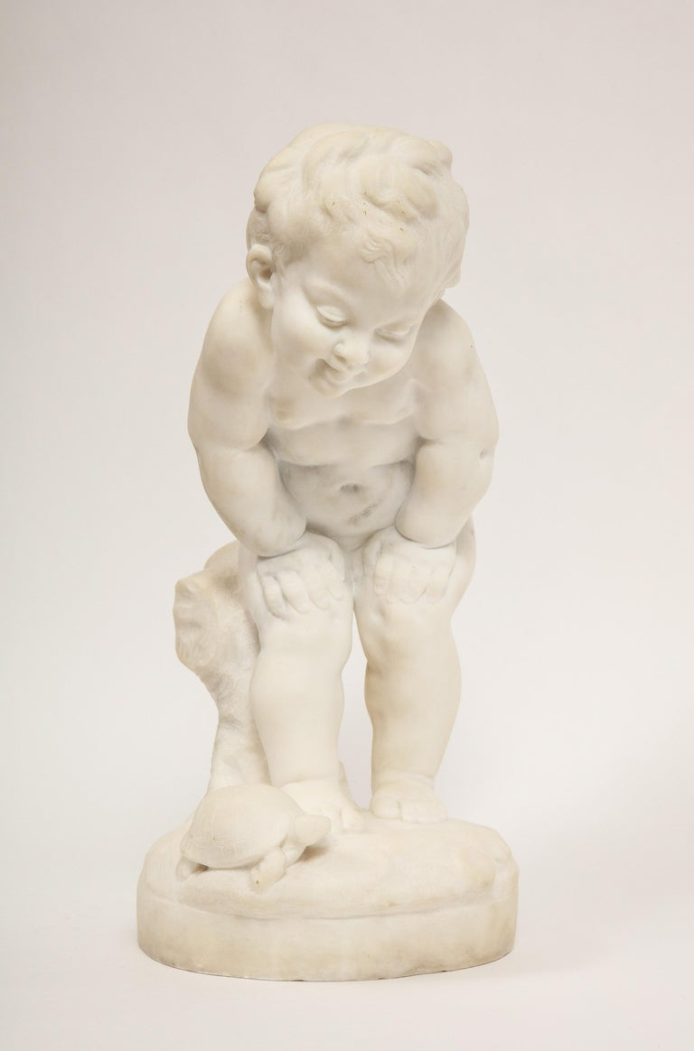 French Benoit Rougelet, F. Barbedienne, a White Marble Sculpture of a Putti and Turtle