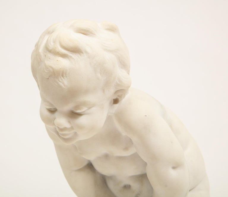Benoit Rougelet, F. Barbedienne, a White Marble Sculpture of a Putti and Turtle In Good Condition In New York, NY