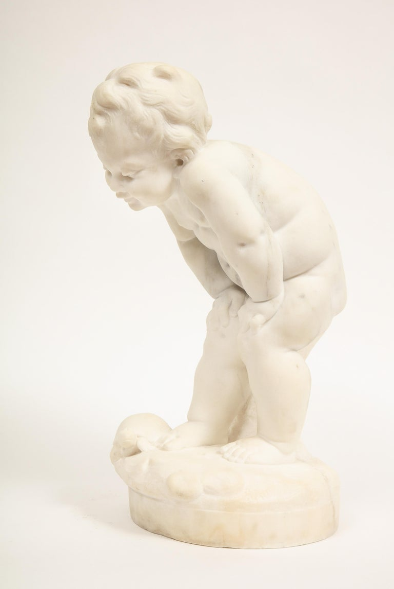 Benoit Rougelet, F. Barbedienne, a White Marble Sculpture of a Putti and Turtle 1
