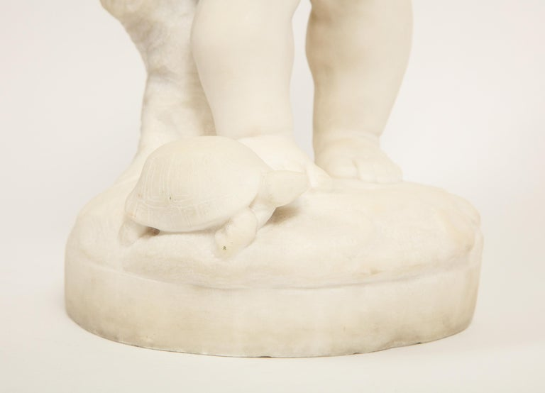 Benoit Rougelet, F. Barbedienne, a White Marble Sculpture of a Putti and Turtle 2