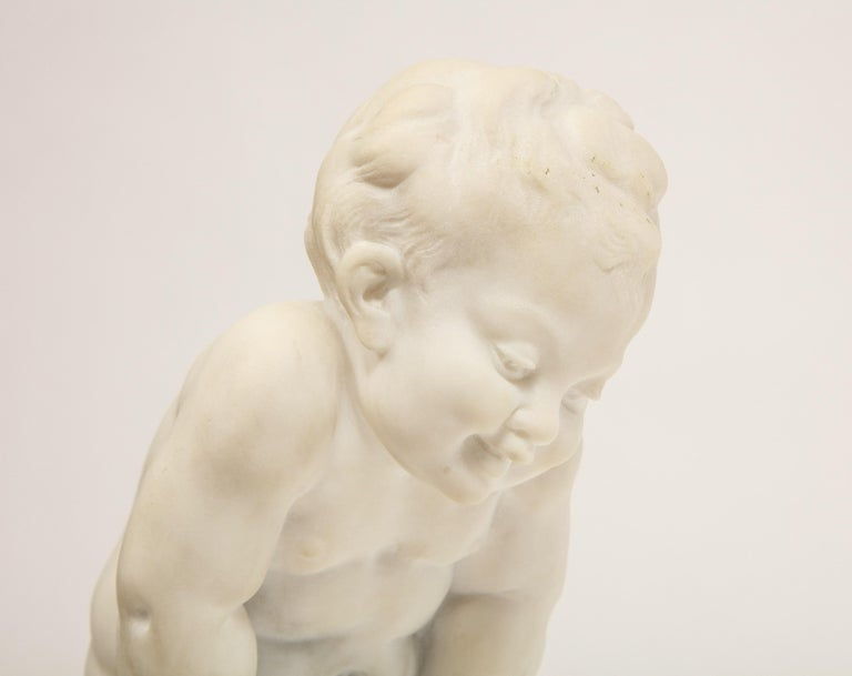 Benoit Rougelet, F. Barbedienne, a White Marble Sculpture of a Putti and Turtle 3
