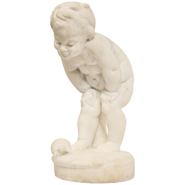Benoit Rougelet, F. Barbedienne, a White Marble Sculpture of a Putti and Turtle