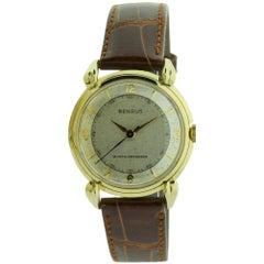 Benrus 14 Karat Yellow Gold Art Deco Wristwatch with Original Patinated Dial