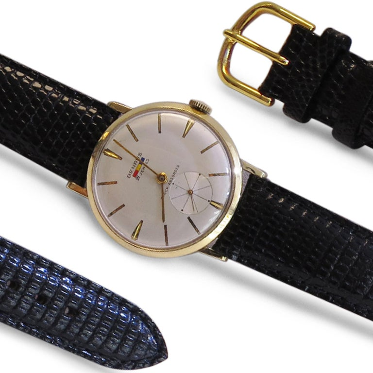 Contemporary Benrus 14 Karat Yellow Gold Watch 21 Jewels For Sale