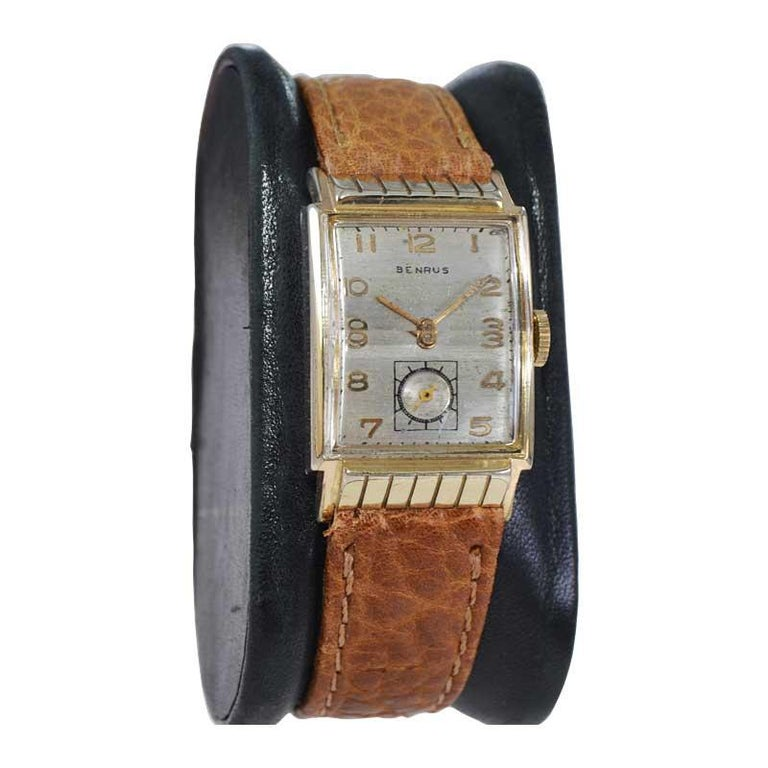 Women's or Men's Benrus Art Deco Tank Style Wrist Watch with Original Dial, Circa 1940's For Sale