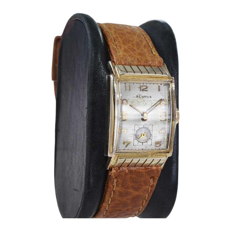 Benrus Art Deco Tank Style Wrist Watch with Original Dial, Circa 1940's For Sale 1