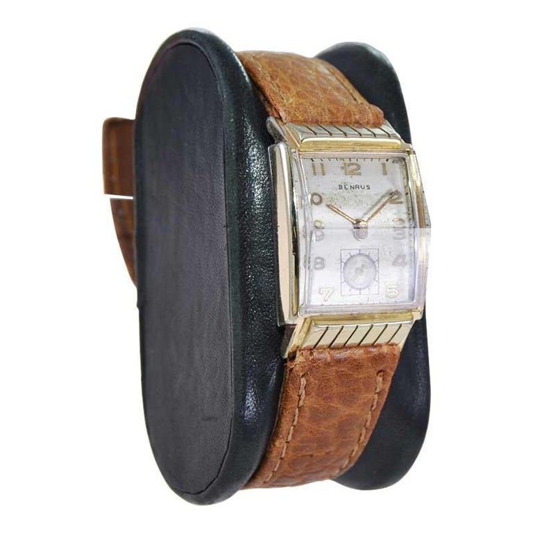 Benrus Art Deco Tank Style Wrist Watch with Original Dial, Circa 1940's For Sale 2