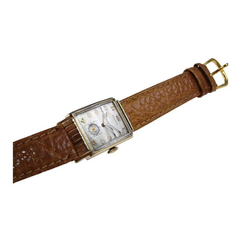 Benrus Art Deco Tank Style Wrist Watch with Original Dial, Circa 1940's For Sale 3