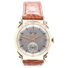 Benrus Vintage 14 Karat Yellow Gold Gents Wrist Watch