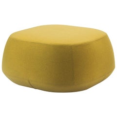 Yellow Wool Small Square Pouf Ottoman, Bensen