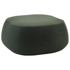 Green Wool Small Square Pouf Ottoman, Bensen