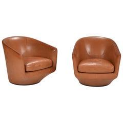 Bensen Leather Swivel Chairs
